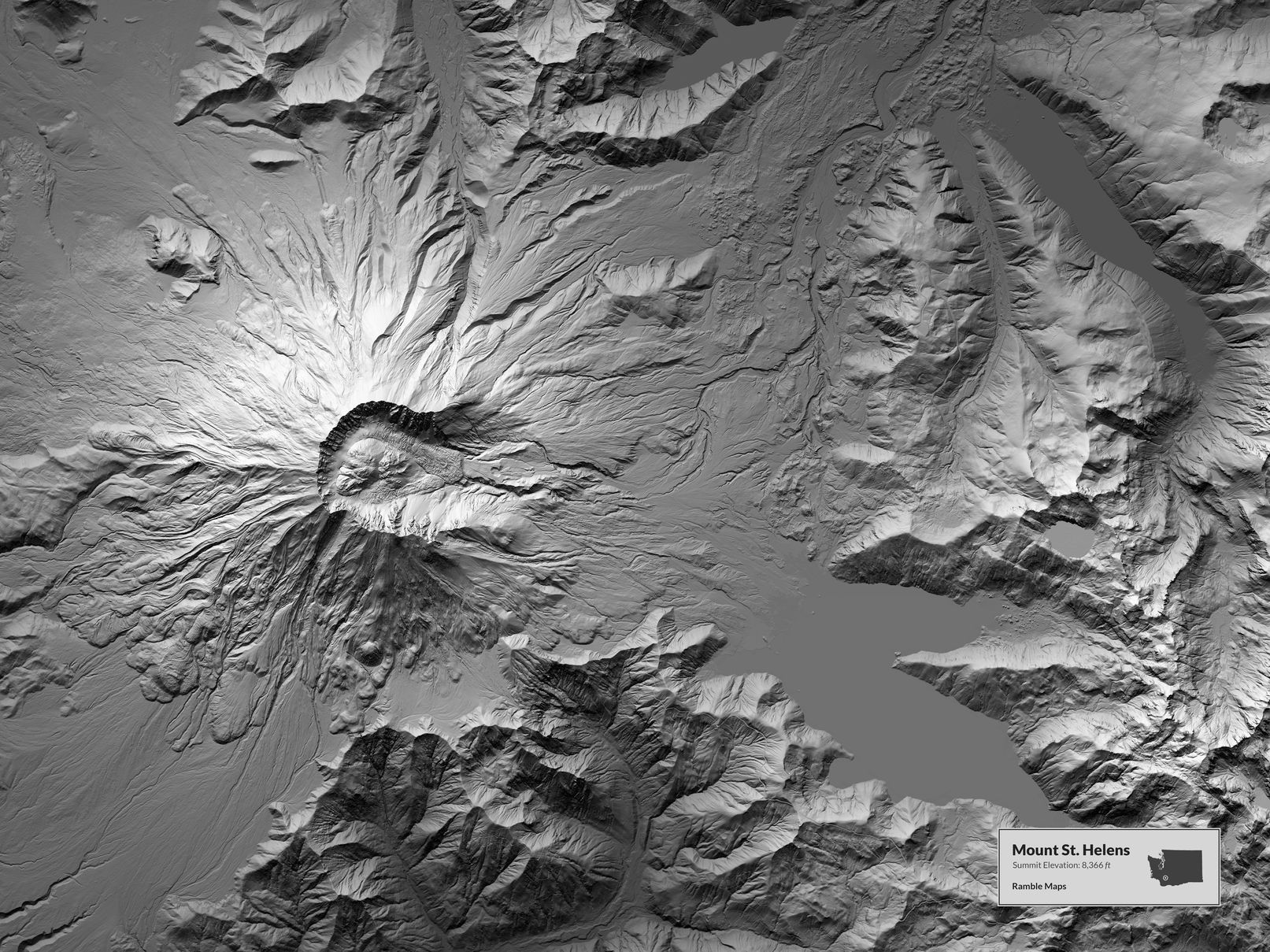 Map of Mount St. Helens